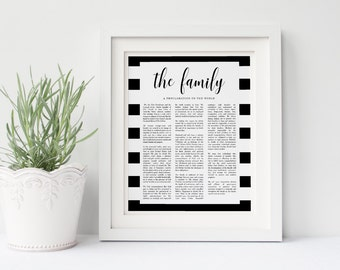 Family Proclamation   The Family A Proclamation To The World LDS   Comes in 8x10, 11x14 and 16x20  Printable   Minimalist   Instant Download