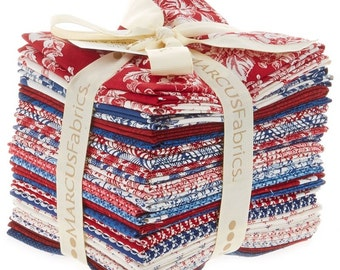 Gallery In Red & Blue 24 Fat Quarters by Faye Burgos