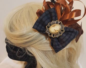 Black and grey tweed and brown steampunk fascinator. Victorian burlesque. Cameo