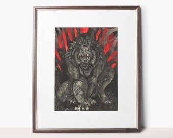 Signed Small Print - Misty Hollow - Wolf - Werewolf - Horror - Monster - Drawing - Art - Illustration - Gothic