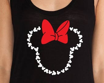 Minnie Mouse, T-shirt or Tank Top, Women, Youth, Girls, Disney shirts, Mickey Mouse, Walt, Dinsey World, Princess, Couples, Minnie Mouse Bow