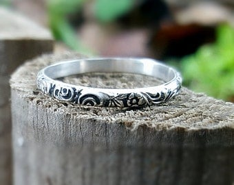Sterling Silver Ring Wedding Band Floral Band Ring Silver Stacking Rings Simple Stack Ring 2 mm Oxidized Wide Band Dainty Engagement Ring