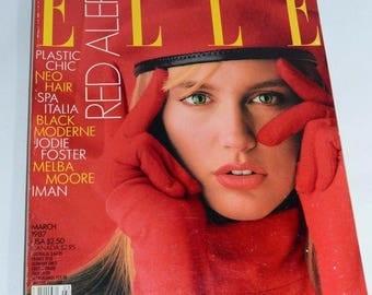 Vintage / 1980's / Elle Fashion Magazine / March 1987 / Spring Issue / Ashley Richardson on Cover