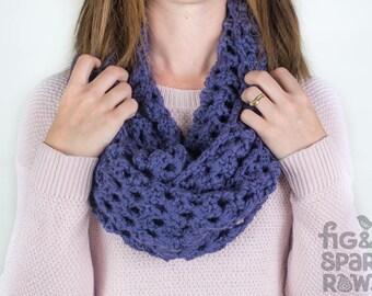Purple Crochet Scarf, Crochet Infinity Scarf, Handmade Scarf, Woollen Scarf, Chunky Scarf, Crochet Scarf, Eternity Scarf, Winter Scarf