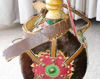 Flask Hungarian Folk Art Wood Canteen, Fur and Leather Covered  Flask with Strap and Buckle