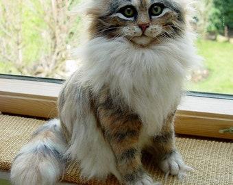 Needle felted Kitten/ Life-Size/ OOAK & Original Belvintas Art Cat