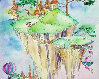Flying Islands. Magic fantasy original watercolor painting, fairy tale, nursery wall art, kids room art, balloon, flying ship art