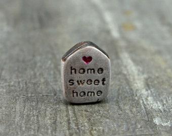Home Sweet Home Bead, polymer clay house bead