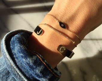 Diamond initials cuff bracelet