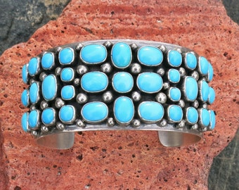 Exquisite Sleeping Beauty Turquoise Bracelet by Paul Livingston, Navajo,  Sterling