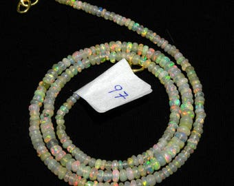 """Natural Ethiopian Welo Opal Smooth Bead 2.5-3 M.M. 18"""" Necklace, fire opal smooth beads necklace, welo opal smooth roundel necklace N97"""
