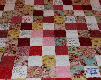 Wedding Guestbook Signature Quilt - EVERYTHING SUPPLIED - Wedding Keepsake Quilt - Guest book  - wedding gift - memory quilt