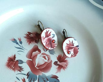 Handmade OOAK french Digoin Nina Rosa broken china red flower earrings