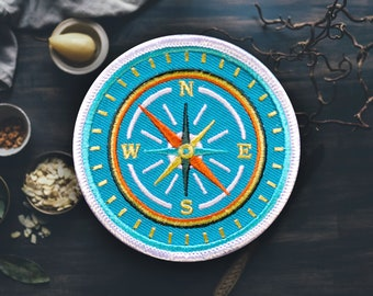 "Compass Patch | Sew On | Embroidered | Patches for Jackets | 2.75"" (Free Shipping US)"
