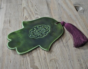 Green Ceramic Hamsa, Fatima's Hand, Handmade, Home decor, Gift, Housewarming, Gift