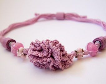 Rose Bouquet-Valentine's Necklace-crocheted cotton, with glass elements, resin, silk, silver and steel