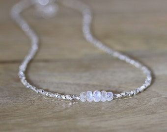 Rainbow Moonstone, Sterling & Fine Silver Necklace. Delicate Beaded Choker. Flashy Blue Gemstone Layering Necklace. Choice of any length