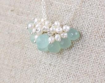 Aqua Chalcedony, Freshwater Pearl & Sterling Silver Necklace. Bead Cluster Pendant. Sea Foam Gemstone Jewelry. Brides, Bridesmaid Jewellery