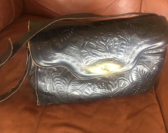 Hand Tooled Black Leather Southwestern Purse