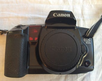 Vintage Canon EOS 10S 35mm SLR Film Camera Body lens remote manual and more
