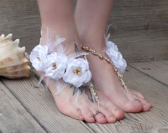 Barefoot sandals, bride barefoot jewelry, wedding sandals, gold and white, beach wedding shoes, flowers and feathers, custom color options