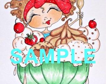 Fabric Art Quilt Block - Ice Cream Sundae  17-033  FREE Shipping