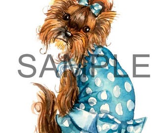 Fabric Art Quilt Block -  Sweet Yorkie in Blue - 17-055 FREE Shipping