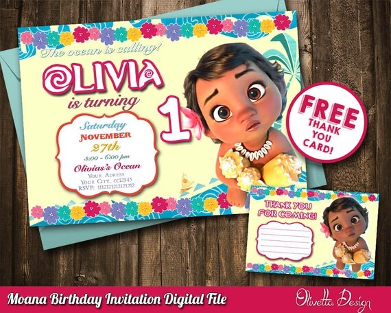 Baby Moana Invitation Baby Vaiana Invitation Printable Moana