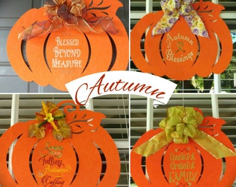 Fall Pumpkin Door Decor, Felt Wall Hanging, Leaves are Falling Autumn is Calling, Blessed Beyond Measure, Autumn Blessings Door Hanger!