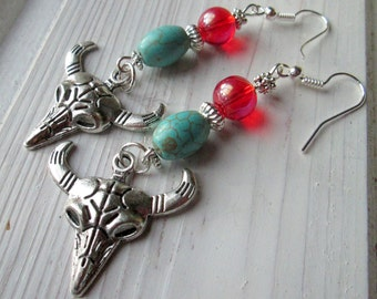Earrings with Bull's head and pearls * hippie * boho * Gipsy style *.