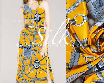 Yellow silk jewelry fabric charmeuse silk