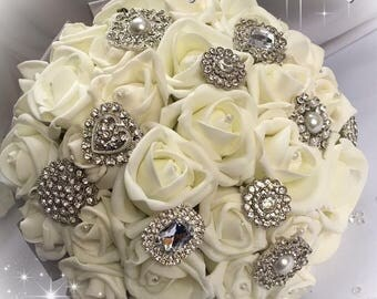 Brooch bouquet, bridal bouquet, bridesmaid bouquet, foam rose bouquet, rose bouquet, sparkly bouquet, flower bouquet, bridal posy