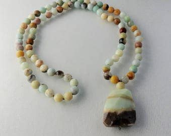 Amazonite Bead - Amazonite Pendant - Long Necklace - Beaded Necklace - Mothers Day Necklace - Neutral Bead Necklace - hand knotted necklace