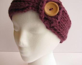 Women's Button Head Warmer Plum