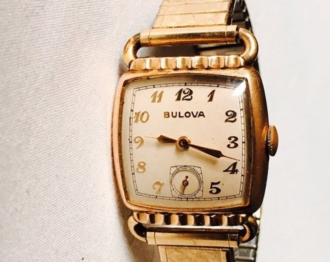 Storewide 25% Off SALE Vintage 10k Gold Filled Mechanical Date Mark Bulova Watch Featuring Square Art Deco Bezel