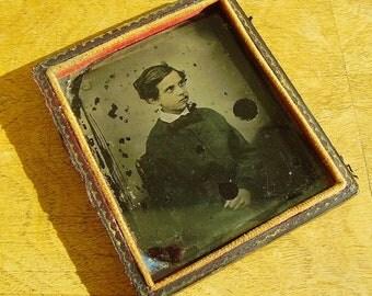 Antique early photograph ambrotype? daguerrotype? of boy Victorian creepy photo