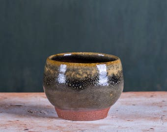 Guinomi Bowl, Sake Cup, with Tenmoku and Ash Glaze & Rustic Clay - For Drinks and Spirits