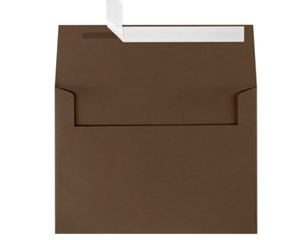 Dark Brown Envelopes A7 for 5x7 Invitations or Cards - Envelope Upgrade - Peel & Seal Envelopes - Easy Seal Envelopes - Chocolate