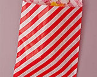 Striped paper bags, 10 count, red