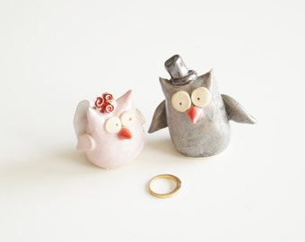 Large Cake Topper, Owl Wedding Cake Topper, Owl Cake Topper, Ceramic Owl, Ceramic Cake Topper by Her Moments
