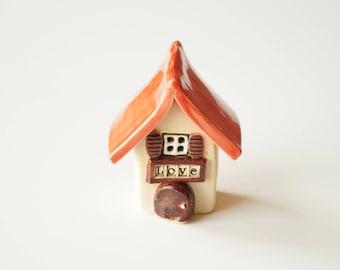 Ceramic Love House, Miniature House, I Love my Home, Decor Small House, Ceramics and Pottery