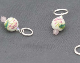 Ceramic Pink Lotus Stitch Markers - Set of 4