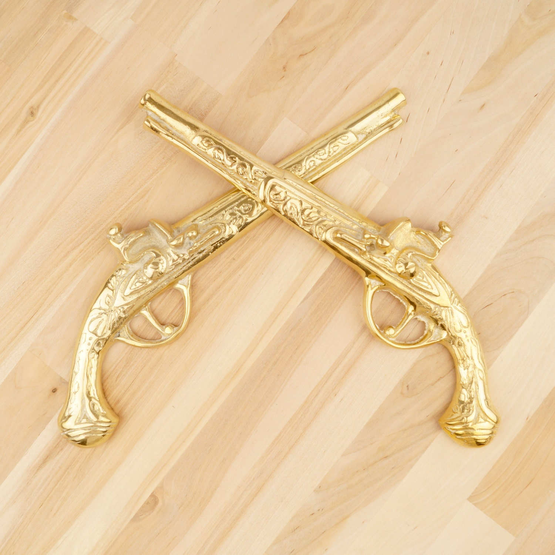Gun set    vintage solid brass    wall decor    Brass decorative gun ...