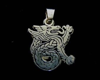 Vintage Estate .925 Sterling Silver Chinese Dragon Pendant 4.6g E1841