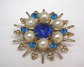Womens Vintage Estate Brooch Pin w/ Decorative Stones 4.4g E1108