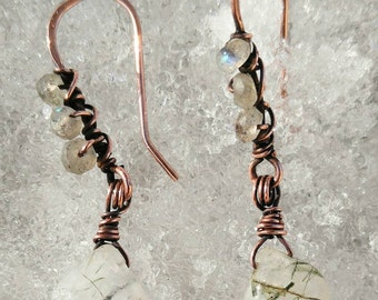Drop earrings copper wire natural green tourmalinated quartz hand faceted natural labradorite