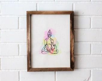 Water Color Yoga Pose Easy Seat Buddha Zen Painting Handmade