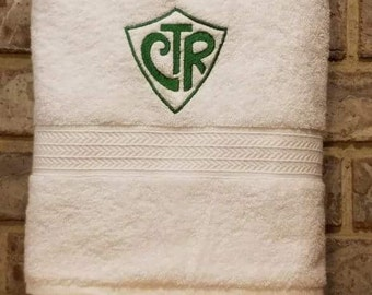 CTR Choose the Right Mormon baptism towel LDS Great to be Eight 8 gift