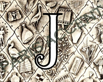 Instant digital download of Letter 'J' from 'Nouveau Petit Larousse Illustré' a French Encyclopedia. Great for arts and crafts! Dated 1952