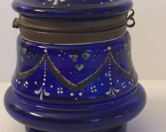 Antique Bohemian Czech Style Glass Jar
